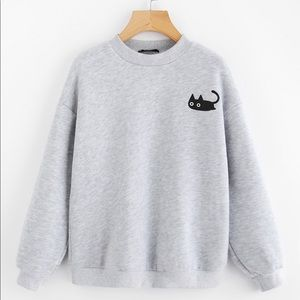 Romwe Cat print heather knit pullover sweater